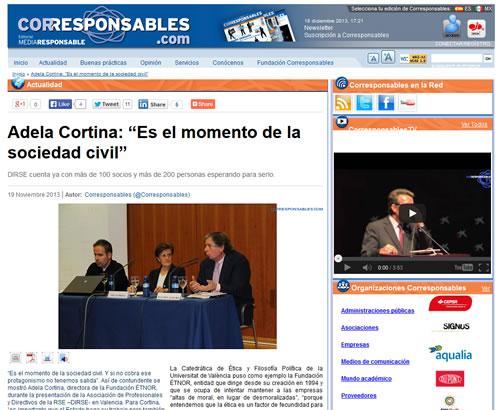 """Presentación de DIRSE en Valencia: Adela Cortina: """"Es el momento de la sociedad civil"""""""