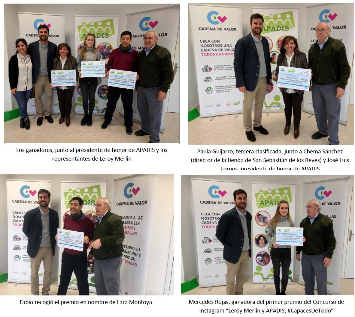 """Los premios del I Concurso de Instagram """"Leroy Merlin y APADIS, capaces de todo"""" se entregan en San Sebastián de los Reyes"""