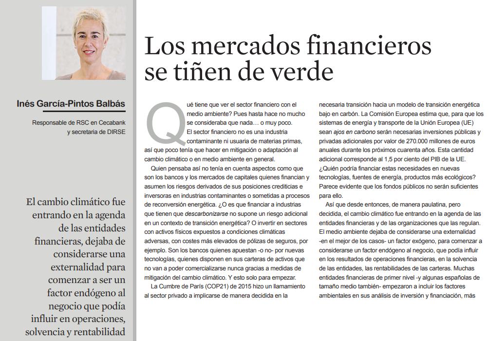 Los mercados financieros se tiñen de verde por Inés García-Pintos Balbás