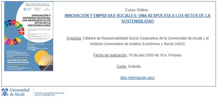 Curso online. Innovación y empresas sociales: una respuesta a los retos de la sostenibilidad