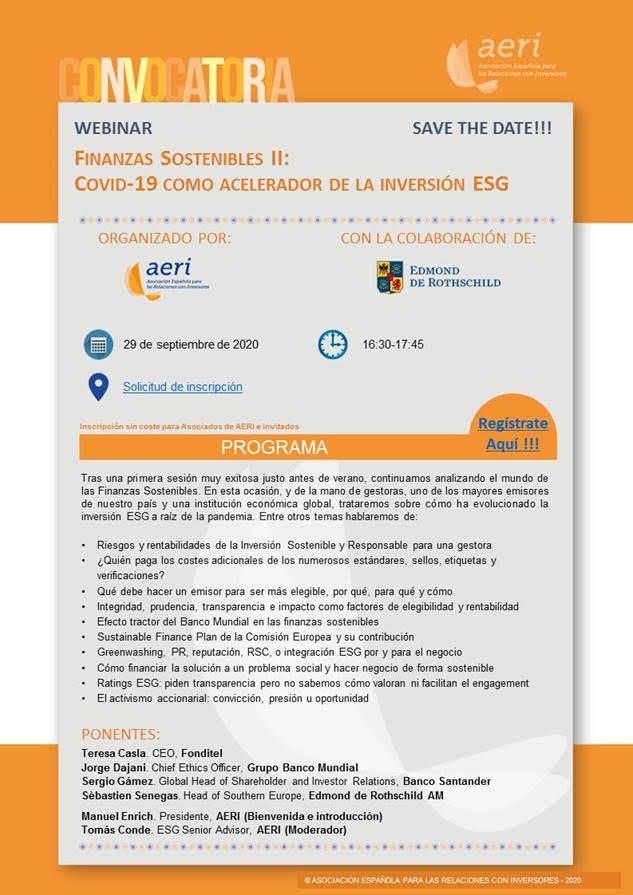Finanzas Sostenibles II: Covid-19 como acelerador de la inversión ESG