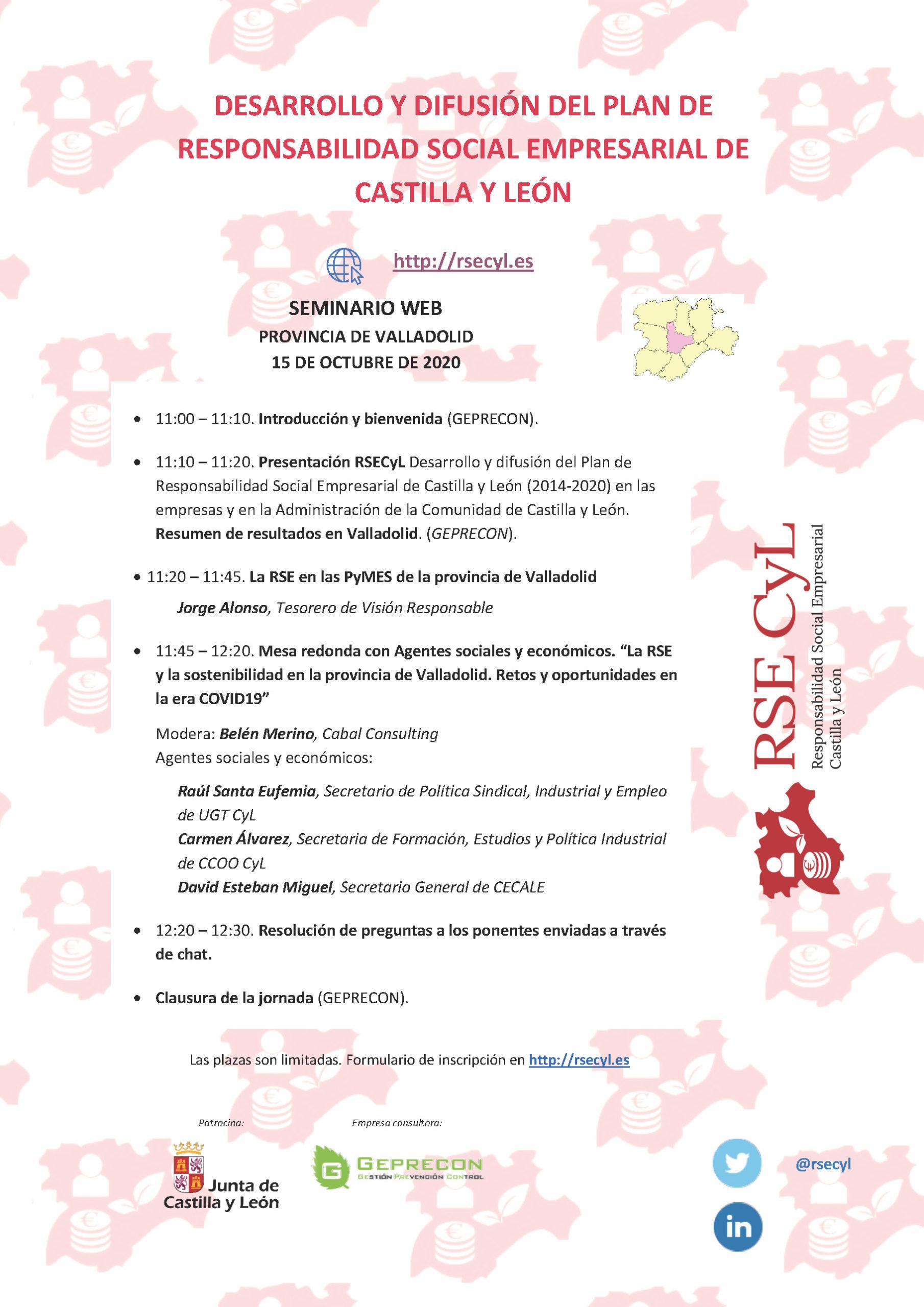 Primera jornada informativa RSECYL 2020: Desarrollo y difusión del plan de RSC de CyL