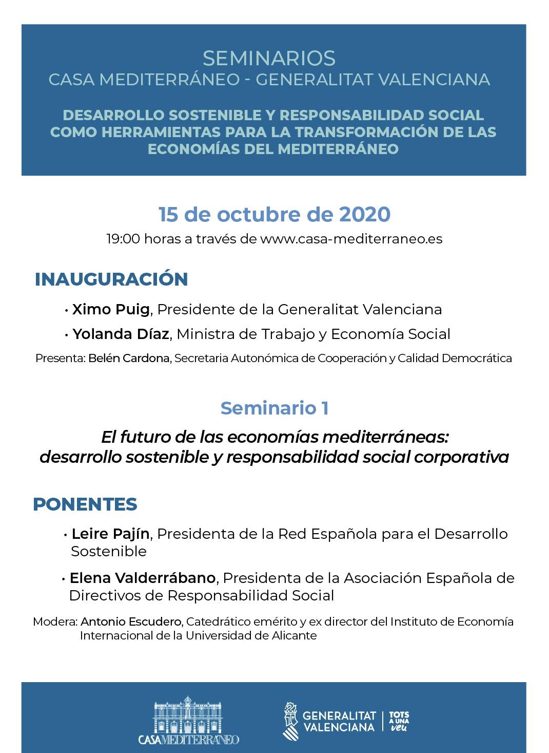 """Seminarios """"Desarrollo Sostenible y Responsabilidad Social como herramientas para la transformación de las Economías del Mediterráneo"""""""