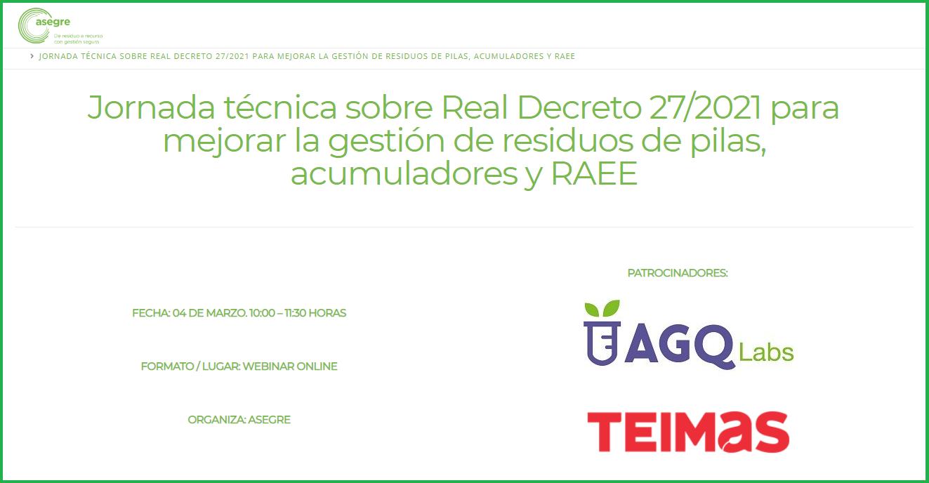 Jornada técnica sobre Real Decreto 27/2021 para mejorar la gestión de residuos de pilas, acumuladores y RAEE
