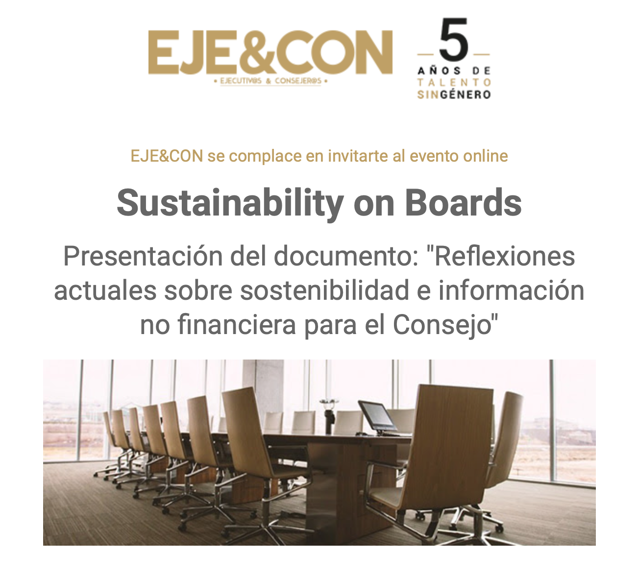 """Sustainability on Boards Presentación del documento: """"Reflexiones actuales sobre sostenibilidad e información no financiera para el Consejo"""""""