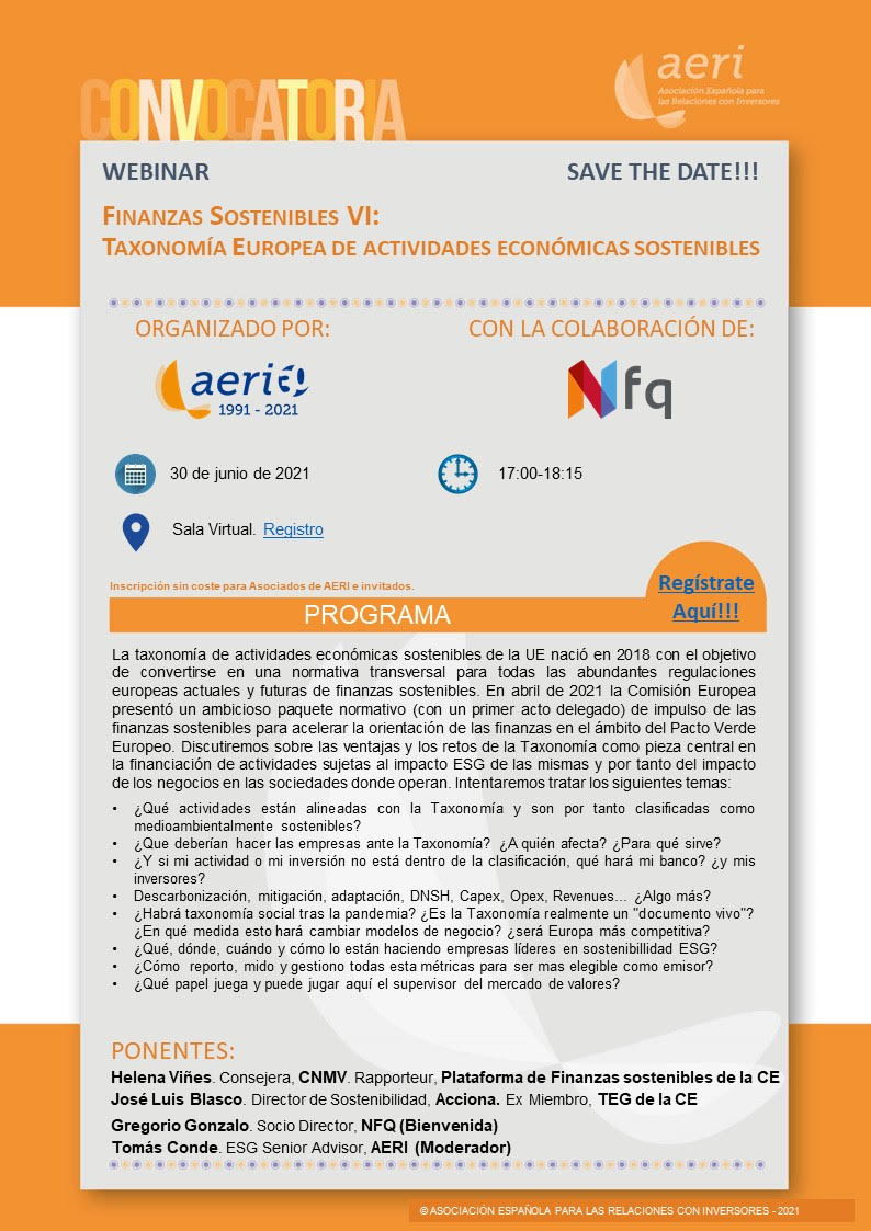 AERI. Webinar sobre la Taxonomía Europea
