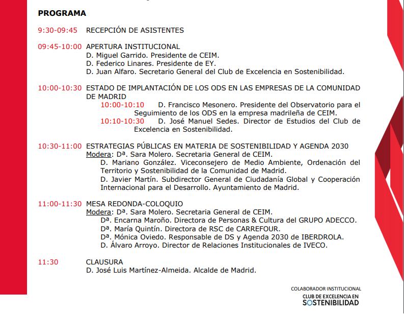Programa ODS en la agenda madrileña.