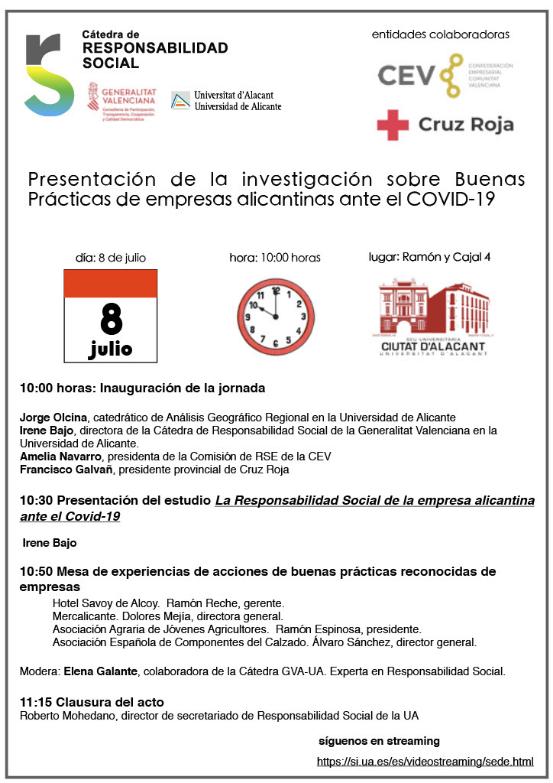 Presentación de la investigación sobre Buenas Prácticas de empresas alicantinas ante el COVID-19