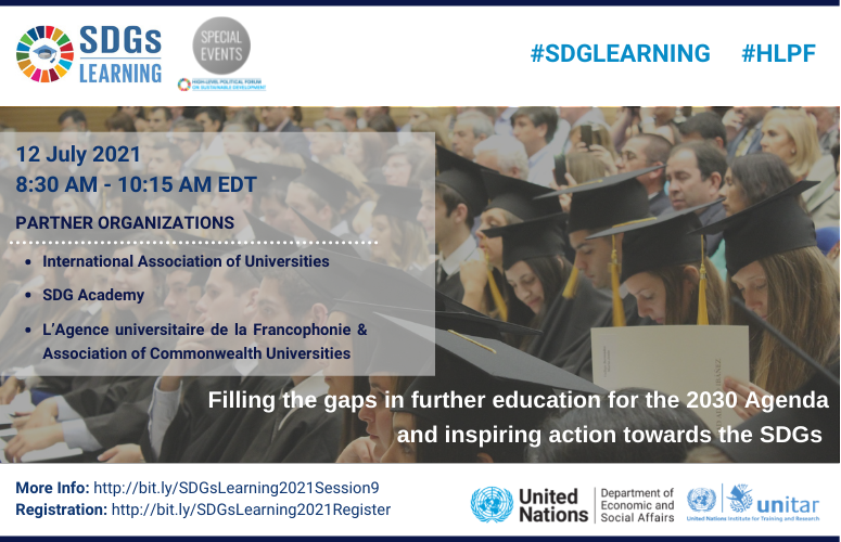 Filling the gaps in further education for the 2030 Agenda and inspiring action towards the SDGs